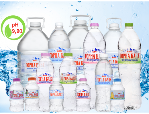 Natural mineral water 0.330l. up to 10l.