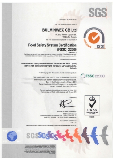 ISO 22000 Food Safety Certificate